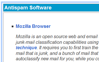 Screenshot of Mozilla being recommended on antispam website