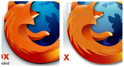 Comparison of old and new Firefox logo