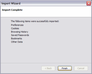 Firefox profile import wizard success screen