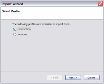 Firefox profile import wizard