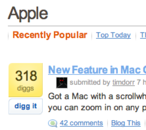 Screenshot of Digg taken with Mac OS X new zooming feature