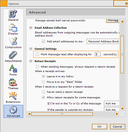 "Screenshot of the ""Mark message read"" option"