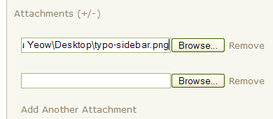 Screenshot of Typo Attachments feature