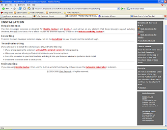 Screenshot of the Web Developer Toolbar documentation page